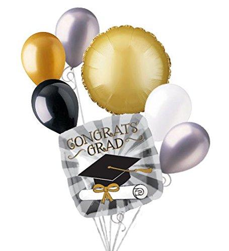 7 pc Touch of Gold Graduation Balloon Bouquet Congratulations Congrats Grad