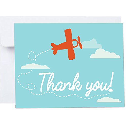 Adventure Awaits Plane with Clouds Thank You Cards with Envelopes 10 Pack A2 Folded 4x5.25 in Blue Red Clouds First Birthdays, Adventure Awaits, Travel Shower by PaperGala