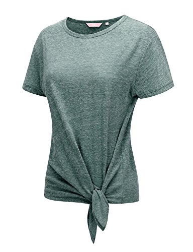 Regna X Women's Short Sleeve o Neck Front tie T-Shirts Green S
