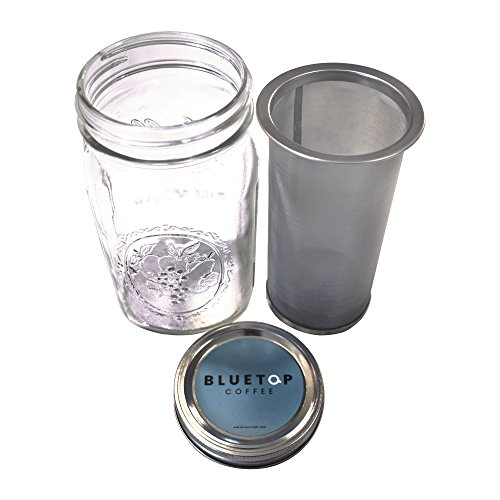 Mason Jar Cold Brew Coffee Maker BlueTop Coffee Iced Coffee and Iced Tea Brewer Infuser ...