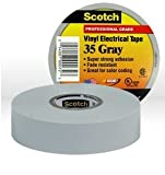 3M Scotch 35 Polyvinyl Chloride Color Coding Electrical Tape, 0 to 221 Degree F, 1250V/mil Dielectric Strength, 66' Length x 3/4'' Width, Gray