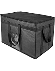 """Yalin XXL-Larger Insulated Cooler Bags with Zipper Closure,Reusable Grocery Shopping Bags Keep Food Hot or Cold,Collapsible lunch bag,Grocery Transport,23""""W x 15""""H x 14""""D(Black Color)"""