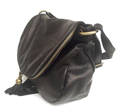 SUPERFLYBAGS Borsa Donna a Tracolla in vera pelle stampa morbida modello Mada XL Made in Italy Nero