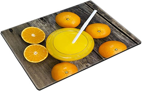 MSD Place Mat Non-Slip Natural Rubber Desk Pads design 35081930 Glass of orange juice and orange slice top view on the table