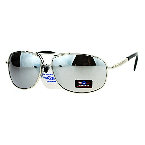 Air Force Mens Sunglasses Metal Spring Hinge Frame Silver, Silver Mirror - Airforce Sunglasses