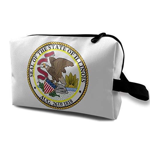 MKJHACKE Seal of Illinois Toiletry Bag Multifunction Cosmetic Bag Portable Makeup Pouch Waterproof Travel Hanging Organizer Bag for Women Girls