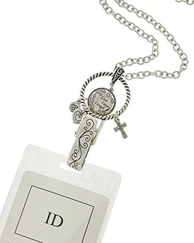 Live Love Laugh ID Badge Holder Lanyard Silver Chain Charm Key Tag Necklace