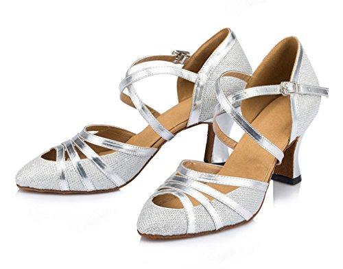 Honeystore Damen's Criss Cross Riemen Metallschnalle Tanzschuhe Silber-02 4 UK WSe67UY
