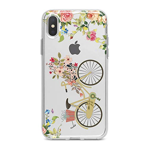 (Lex Altern TPU Case for iPhone Apple Xs Max Xr 10 X 8+ 7 6s 6 SE 5s 5 Flexible Print Cute Fantasy Floral Pattern Smooth Cover Clear Blossom Girls Slim fit Bicycle Soft Lightweight Design Gift Green)