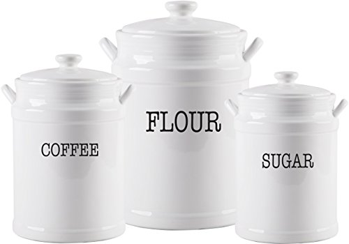 American Recreations Set of 3 Modern Farmhouse Ceramic Canister Set (Sets Ceramic Canister)