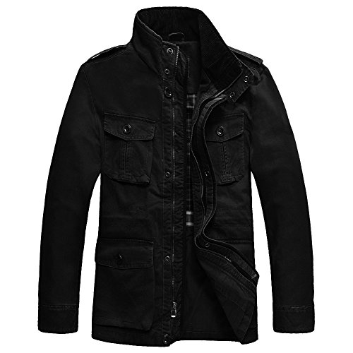 JYG Men's Casual Military Windbreaker Jacket Cotton Stand Collar Field Coat Outerwear (US Medium, Black-0879) by JYG