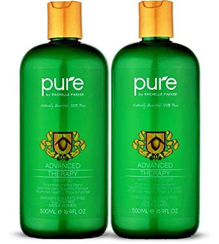 Natural Hair Growth Shampoo and Conditioner For All Hair Types. Extra Strength Formula - Paraben & Sulfate Free Shampoo & Conditioner Set for Hair Loss & Thinning Hair