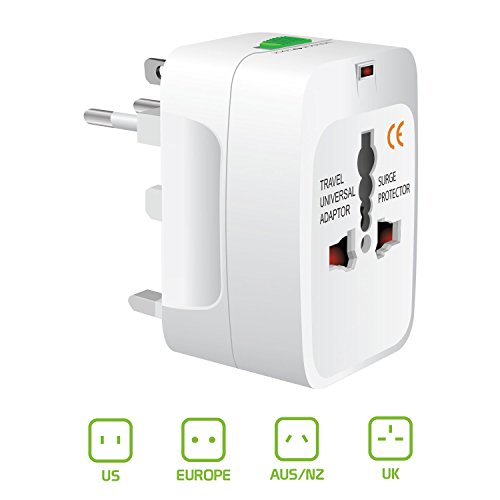 All-In-One International Travel Plug Adapter, Universal Worldwide Travel Adaptor in USA EU UK AUS -  Great for the iPhone/Smartphones/Laptops etc by Cellet CyonGear