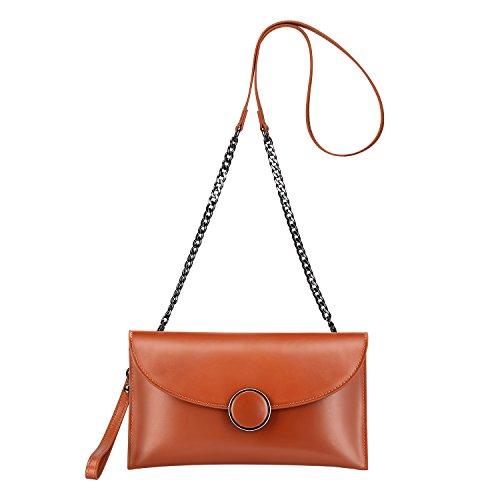Brown S Strap Wrist with ZONE Shoulder Crossbody Bag Purse Women's Clutch Bag Leather Envelope gxAwgqprRW