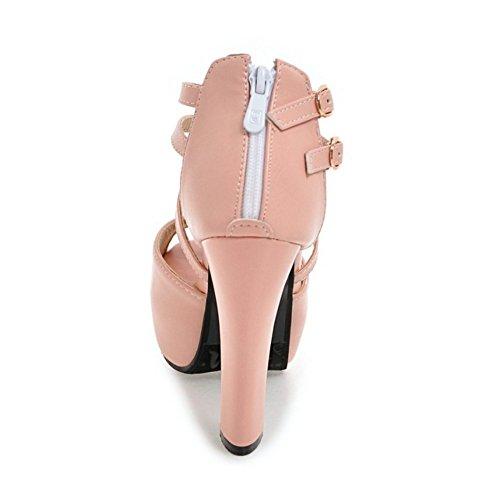 Peep Moda Mujer COOLCEPT Rosado Zapatos Toe Cremallera Al Plataforma With Ancho Tacon Sandalias Tobillo CgaCp4qw
