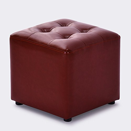 HM&DX Faux Leather Ottoman Cube,Upholstered Footstool Coffee Table Sofa Footrest Stool Seat-Wine (Ottoman Stitch Coffee Table)