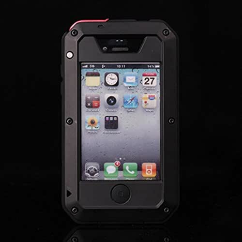 iPhone 4s Case, CarterLily Aluminum Shockproof Dustproof Waterproof Gorilla Glass Metal Case Cover for iPhone 4 / 4S (Black)
