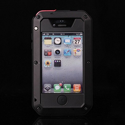 iPhone 4s Case, CarterLily Aluminum Shockproof Dustproof Waterproof Gorilla Glass Metal Case Cover for iPhone 4 / 4S (Black) ()