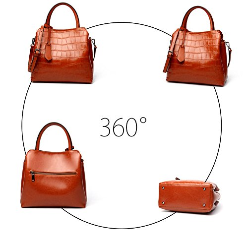 Classic Embossed Crocodile Bag Satchel handle Ladies Top Leather Handbags Women's Purse Yoome Green dxwg6qd