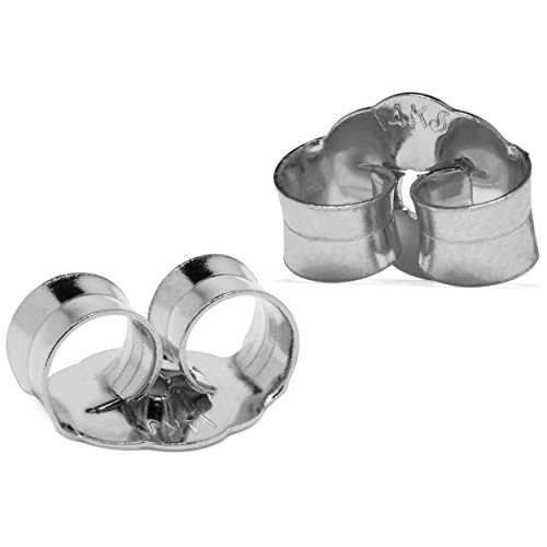 Two Earring Back Replacements |14K Solid White Gold | Threaded Push on-Screw off |Quality Die Struck | Post Size .032