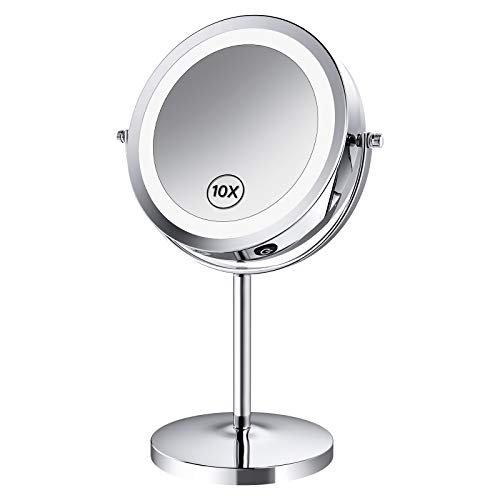 Benbilry LED Lighted Makeup Mirror – 7 Inch 1x/10x Magnifying Vanity Mirror with Light, Double Sided Magnified Light Up…