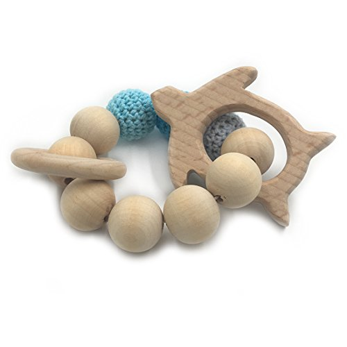 Amyster Crochet Bead Teething Ring Set Untreated Beech Teether with Organic Wood Turtles Toy Wood Bracelet Baby Mom Kids Wooden Teether Bangle (Infant Turtle Teether)