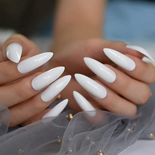 White Tip Halloween Nails (MISUD Stiletto Fake Nails 24 Pcs Super Long Sharp Claw Shape Full Cover Wearable Disassembly Glossy Press-on Pure White False Nails)