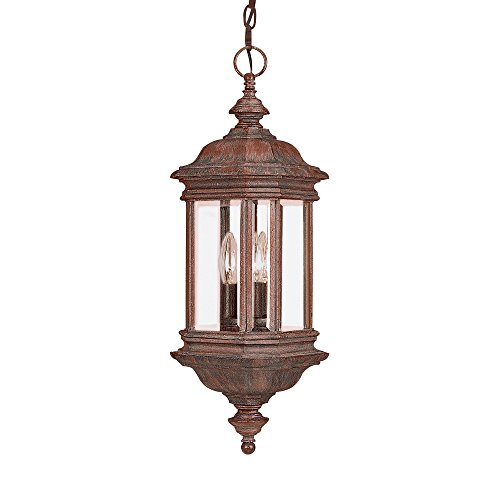 Sea Gull Lighting 6637-08 3-Light Hill Gate Outdoor Pendant, Clear Beveled Glass and Textured Rust Patina