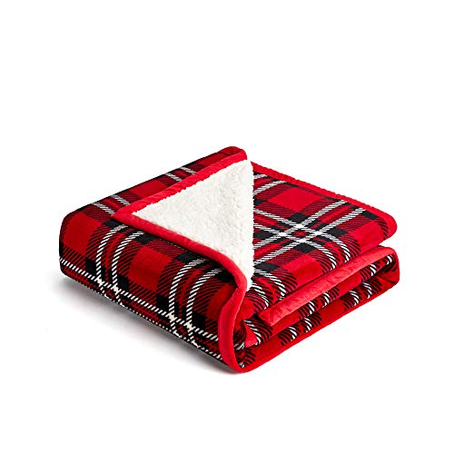 (FFLMYUHUL I U Sherpa Ultra Plush Super Soft Lightweight Throw Blanket Cozy Cabin Geometric Plaid Luxury Blanket for Bed Couch Warm Fuzzy Blanket 50''x60'' red Stripe)