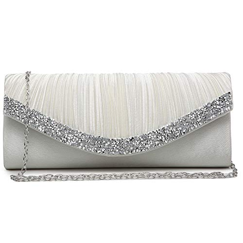 Dasein Women's Satin Pleated Evening Bags Rhinestone Accented Flap Clutch Purses with Silver Chain Strap Ivory White