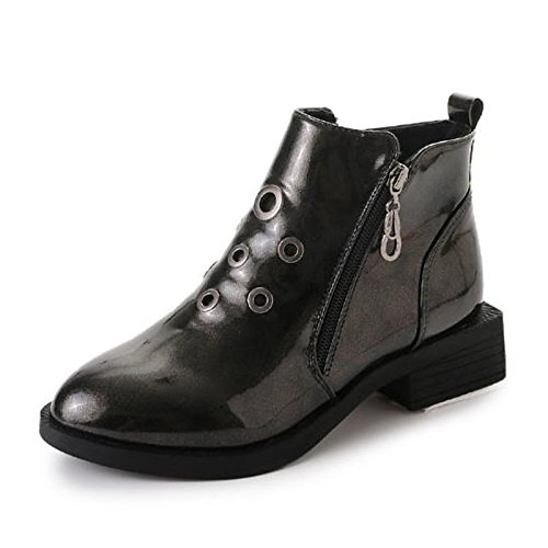 Heel Black Casual Boots PU Toe Round Champagne HSXZ Black Women's Shoes Low ZHZNVX for Comfort Fall Winter Oanz0f