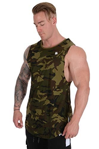 Camo Mens Tank Top - YoungLA Long Tank Tops for Men Muscle Shirt Bodybuilding Gym Athletic Training Sports Everyday Wear 306 Camo Green Medium