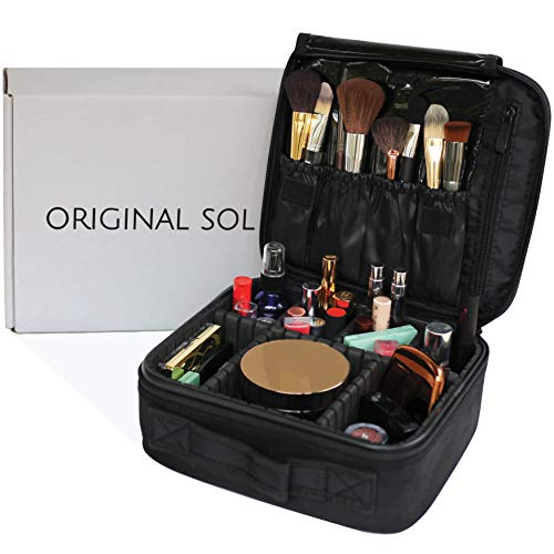 Travel Makeup Case by Original Sol - Premium Cosmetic Bag with Hard Shell and 6 Adjustable Dividers - Portable Compact Toiletry Organizer with Brush Storage - Black Train Cases for ()