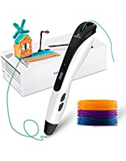 GEEETECH TG-21 3D Pen, with 3 Colors PLA Refills. Decent Gifts for Kids and Adults. Intelligent 3D Printing Pen with LED Display and USB Charging.8 gears of speed.Intelligent sleep mode. Non-Clogging.