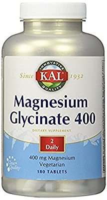 KAL - Magnesium Glycinate 400, 3Pack (180 tablets Each ) Nksl3hk