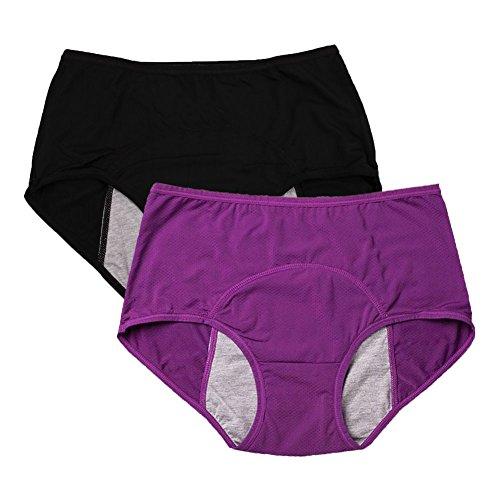 (YOYI FASHION Women Mesh Holes Breathable Leakproof Period Panties US Size XL/8 Purple Black)