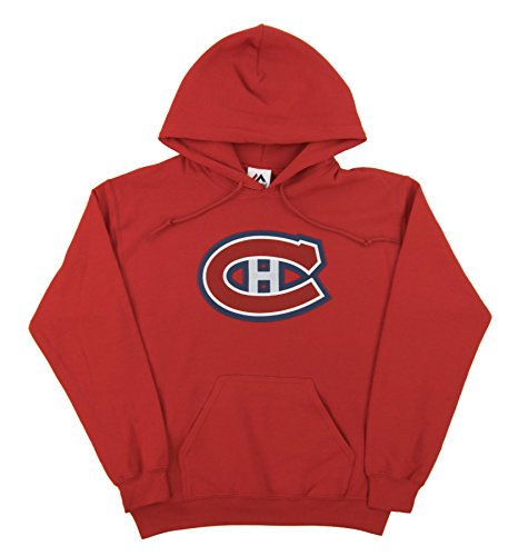Montreal Canadians Hockey (NHL Men's Montreal Canadiens Heat Seal Long Sleeve Hooded Fleece Pullover (Athletic Red, Large))