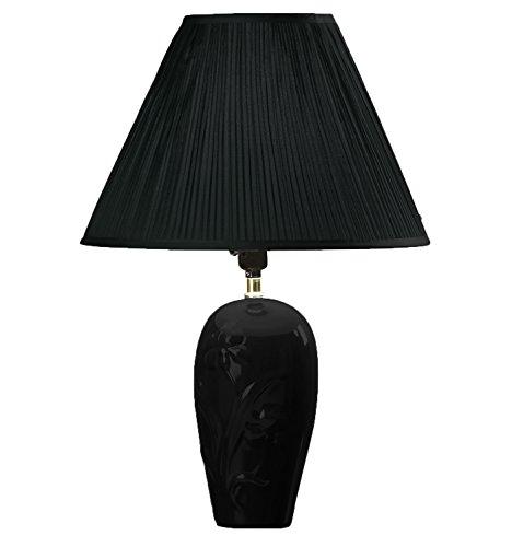 Hongville Floral Embossed Ceramic Body Pleated Pattern Shade Table Lamp (Black)