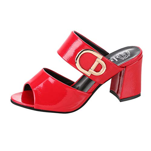 - kaifongfu Women Thick with Roman Wild Sandals Fish Mouth Square Heel with Thick Casual Party Sandals Slippers for Summer(Red,35)