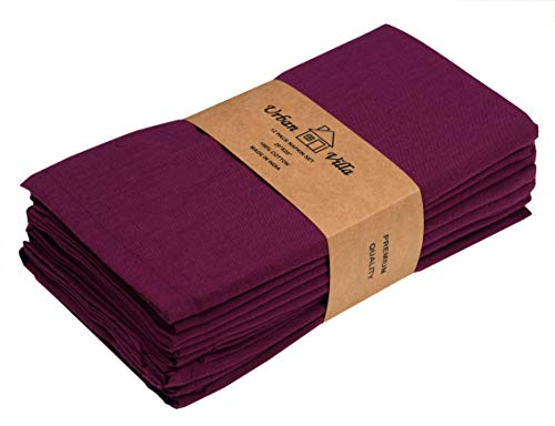 (Solid Slub Purple Color,Dinner Napkins, Everyday Use, Premium Quality,100% Cotton Slub, Set of 12, Size 20X20 Inch,Over sized Cloth Napkins with Mitered Corners, Ultra Soft, Durable Hotel Quality)