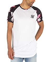 The Curved Hem Raglan T-Shirt from Sik Silk comes with a curved hem, featuring an embroidered logo on chest. Coming in White colour, this t-shirt for men sports a crew neck, and short raglan floral sleeves.