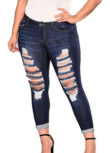 (Etecredpow Women Faded Broken Hole Jeans Stretchy Plus Size Denim Trousers Pants Dark Blue)