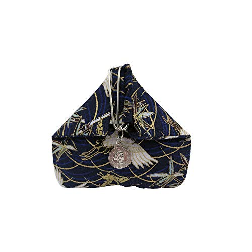 BARbee✨Japanese Style Pattern Triangle Magnetic Button Change Coin Bag Purse Pouch Organizer For Women, Girls(Blue Cranes)