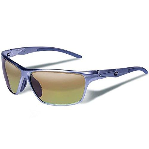 e Eyewear Zulu Polarized Safety Glasses, Matte Silver Frame/Brown with Orange Mirror Lenses ()