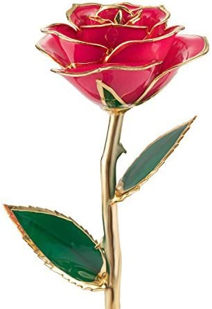 Regalos para san valentin QGSTAR Rosa real de sumergida en oro de 24 quilates flores preservadas rosa oro regalo para madres esposa novia cumpleaños aniversario boda