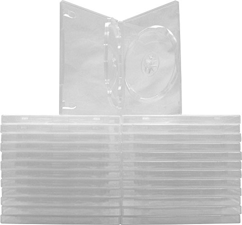 Square Deal Recordings & Supplies (25) Clear Thin Triple DVD Hinged Empty Replacement Boxes/Cases with Wrap Around Sleeve #DV3R14CL (14mm) (3DVD) (Dvd Replacement Sleeves)