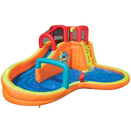 Banzai Lazy River Adventure Park (Backyard Inflatable Waterslide with Sprinkler, Cannon and Lagoon Splash Pool) (Backyard Waterslide)