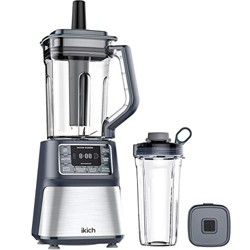 IKICH 53oz Vacuum Blender & 25oz Smoothie Cup, Professional Blender Ice Crusher, High-Speed Countertop Kitchen Smoothie Maker, Quiet Blender, LCD Screen & Timer
