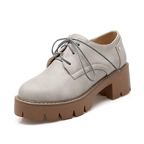 VogueZone009 Damen Mittler Absatz Eingelegt Schnüren Weiches Material Pumps Schuhe Grau
