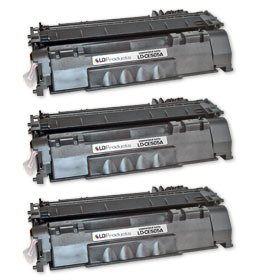 LD © Compatible Replacements for Hewlett Packard CE505A (HP 05A) Set of 3 Black Laser Toner Cartridges for use in HP LaserJet P2035, P2035n, P2055d, P2055dn, and P2055X Printers